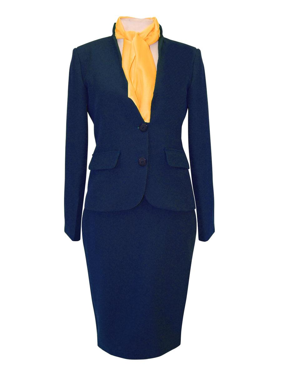 uniforme de azafata con cuello mao azul marino