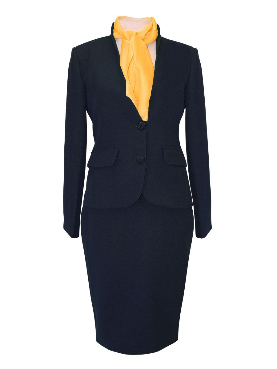uniforme de azafata con cuello mao negro