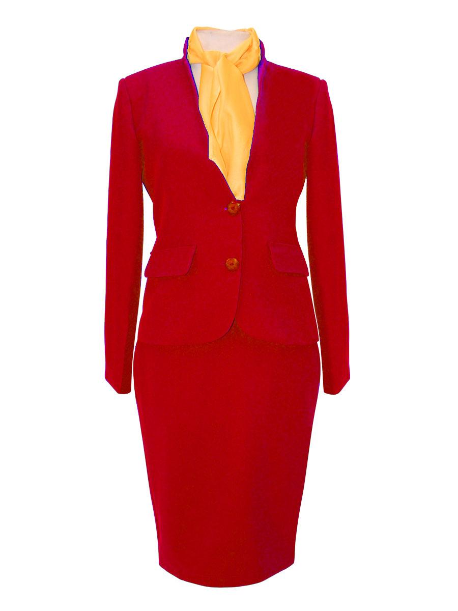uniforme de azafata con cuello mao rojo