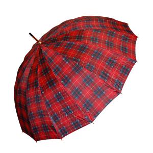Paraguas Largo Automático Rojo De Cuadros