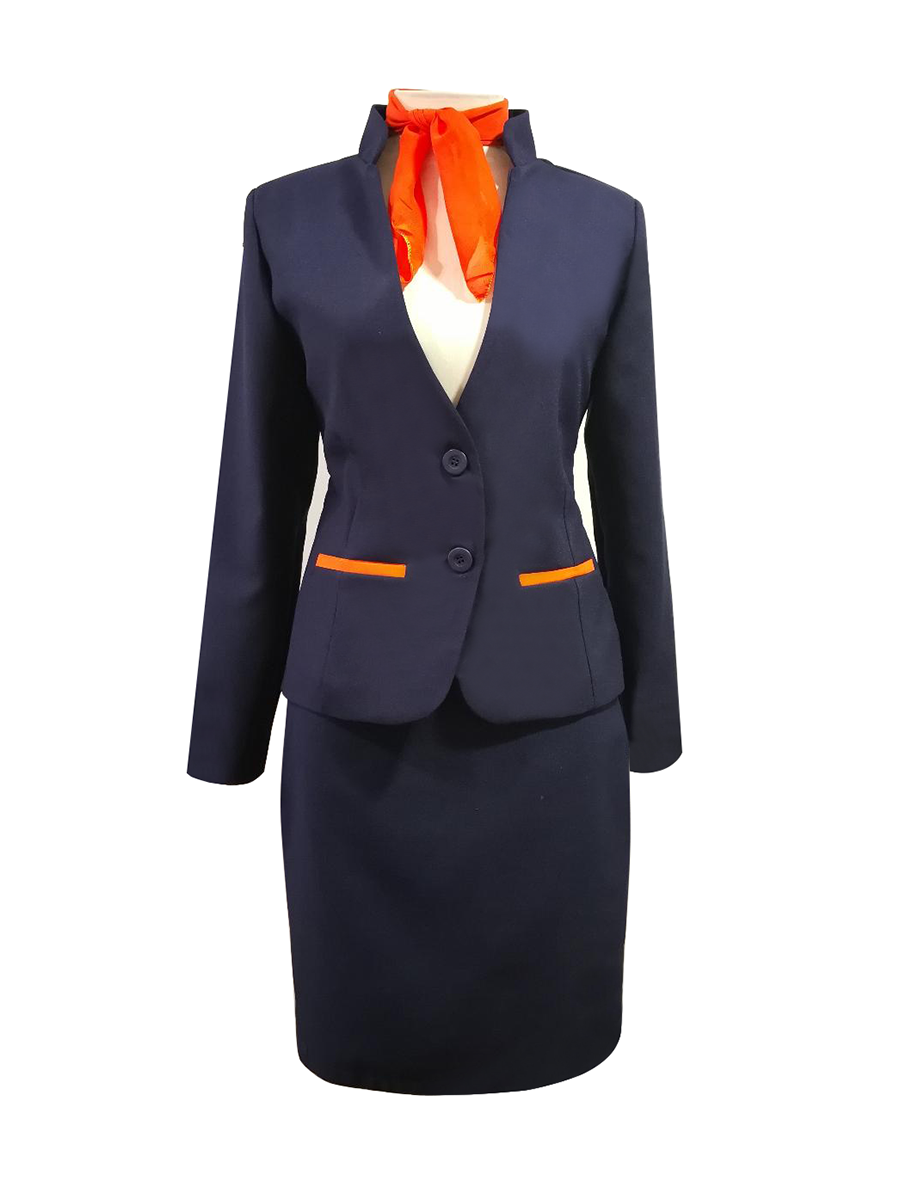 Traje azul marino cuello mao con bolsillos naranjas