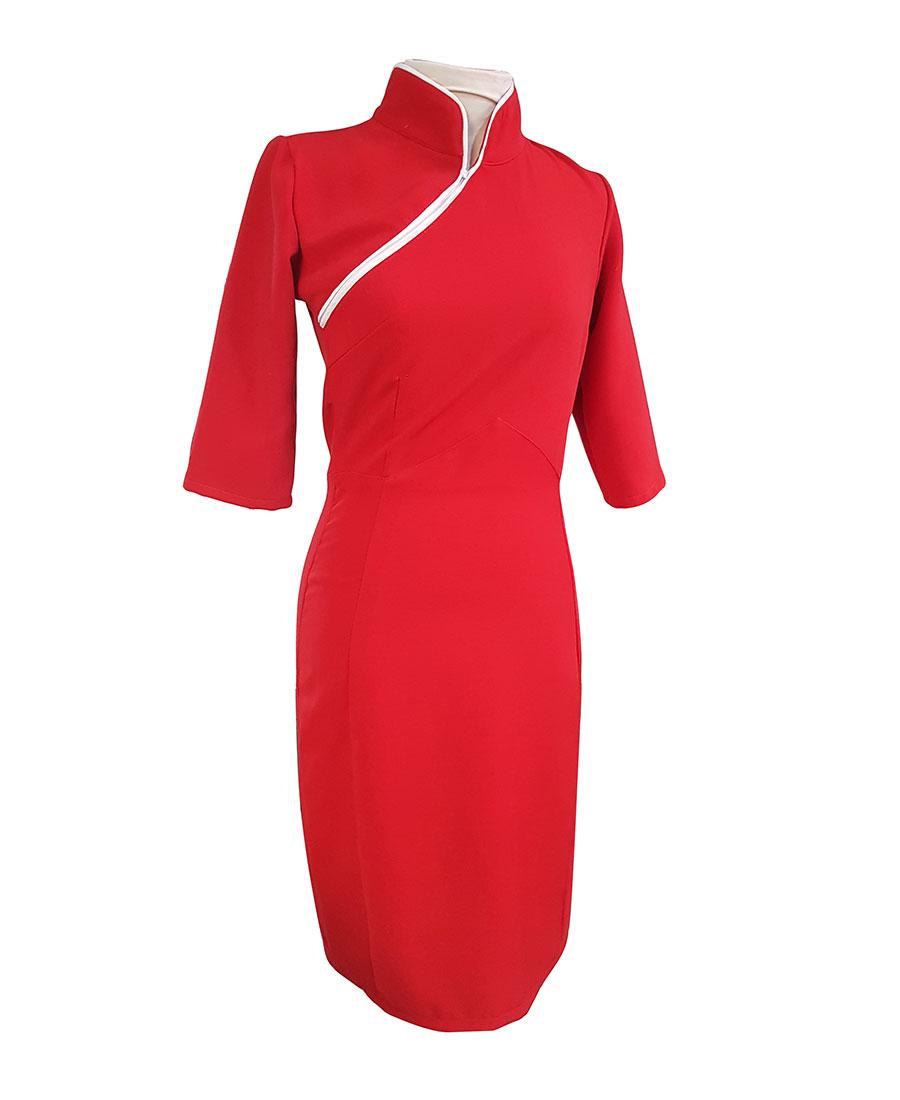 Vestido Para Eventos Especiales Corte Chino Color Rojo